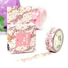 Rouleau de Masking Tape Washi Branche Fleurs de Cerisier 15mmx7mètres