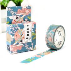 Rouleau de Masking Tape Washi Motifs Japonais Fleurs de Cerisier 15mmx7mètres