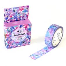 Rouleau de Masking Tape Washi Fleurs Violettes 15mmx7mètres