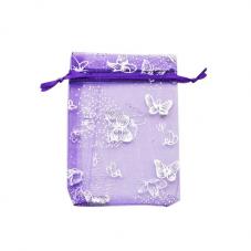 5 Sachets en Organza Violet Papillon Argenté avec Lien Coulissant 9x7cm