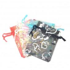 5 Sachets en Organza Papillons Coeur avec Lien Coulissant  9x7cm