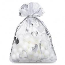 5 Sachets en Organza Blanc Coeurs Argentés avec Lien Coulissant 9x7cm