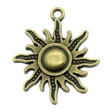 4 Breloques Soleil Bronze 25mm pour la Création de Bijoux Fantaisie - DIY
