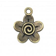 4 Breloques Fleur Bronze 28x23mm pour la Création de Bijoux Fantaisie - DIY