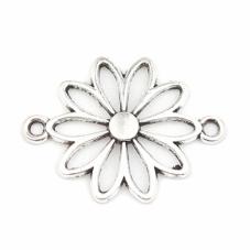 4 Connecteurs Fleur Argenté 20x25mm pour la Création de Bijoux Fantaisie - DIY