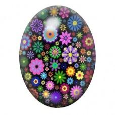 Cabochon en Verre Illustré Fleurs Colorés 13x18, 18x25 ou 30x40mm pour la Création de Bijoux Fantaisie - DIY