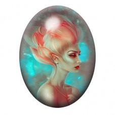 Cabochon en Verre Illustré Femme Fleur Onirique 13x18, 18x25 ou 30x40mm pour la Création de Bijoux Fantaisie - DIY