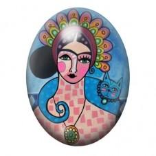 Cabochon en Verre Illustré Frida Khalo Coloré 13x18, 18x25 ou 30x40mm pour la Création de Bijoux Fantaisie - DIY