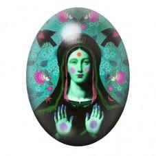 Cabochon en Verre Illustré Vierge Marie Coloré 13x18, 18x25 ou 30x40mm pour la Création de Bijoux Fantaisie - DIY