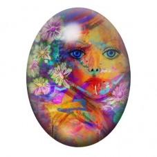 Cabochon en Verre Illustré Visage Femme Fleurs Coloré 13x18, 18x25 ou 30x40mm pour la Création de Bijoux Fantaisie - DIY