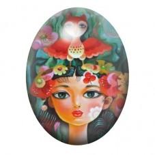 Cabochon en Verre Illustré Femme Hibou Coloré 13x18, 18x25 ou 30x40mm pour la Création de Bijoux Fantaisie - DIY