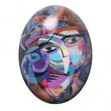 Cabochon en Verre Illustré Visage Art Coloré 13x18, 18x25 ou 30x40mm pour la Création de Bijoux Fantaisie - DIY