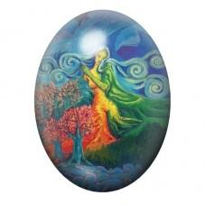 Cabochon en Verre Illustré Femme Nature Coloré 13x18, 18x25 ou 30x40mm pour la Création de Bijoux Fantaisie - DIY