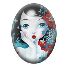 Cabochon en Verre Illustré Femem Fleurs Papillons Coloré 13x18, 18x25 ou 30x40mm pour la Création de Bijoux Fantaisie - DIY