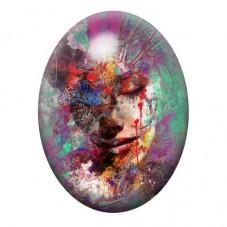 Cabochon en Verre Illustré Art Visage Femme Coloré 13x18, 18x25 ou 30x40mm pour la Création de Bijoux Fantaisie - DIY