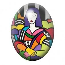 Cabochon en Verre Illustré Femme Art Coloré 13x18, 18x25 ou 30x40mm pour la Création de Bijoux Fantaisie - DIY