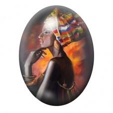 Cabochon en Verre Illustré Femme Africaine Coloré 13x18, 18x25 ou 30x40mm pour la Création de Bijoux Fantaisie - DIY