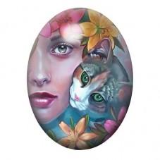 Cabochon en Verre Illustré femme Chat Fleurs Coloré 13x18, 18x25 ou 30x40mm pour la Création de Bijoux Fantaisie - DIY