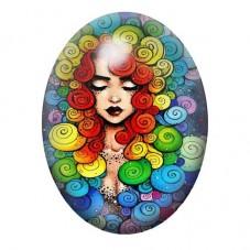 Cabochon en Verre Illustré Femem Chevelure Coloré 13x18, 18x25 ou 30x40mm pour la Création de Bijoux Fantaisie - DIY