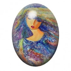 Cabochon en Verre Illustré  Femme Yeux Clos Coloré 13x18, 18x25 ou 30x40mm pour la Création de Bijoux Fantaisie - DIY