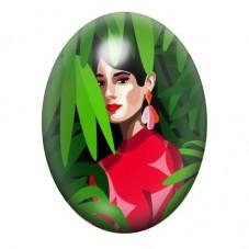 Cabochon en Verre Illustré Femme Feuillage Coloré 13x18, 18x25 ou 30x40mm pour la Création de Bijoux Fantaisie - DIY