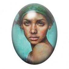 Cabochon en Verre Illustré Femme Métisse Coloré 13x18, 18x25 ou 30x40mm pour la Création de Bijoux Fantaisie - DIY