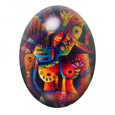Cabochon en Verre Illustré Art Oiseaux Coloré 13x18, 18x25 ou 30x40mm pour la Création de Bijoux Fantaisie - DIY
