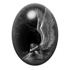 Cabochon en Verre Illustré Ange Triste Gothique 13x18, 18x25 ou 30x40mm pour la Création de Bijoux Fantaisie - DIY