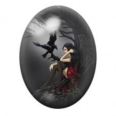 Cabochon en Verre Illustré Ange Corbeau  Gothique 13x18, 18x25 ou 30x40mm pour la Création de Bijoux Fantaisie - DIY