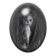 Cabochon en Verre Illustré Ange Tatouages Gothique 13x18, 18x25 ou 30x40mm pour la Création de Bijoux Fantaisie - DIY