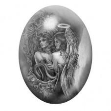 Cabochon en Verre Illustré Mi-Ange Mi-Démon Gothique 13x18, 18x25 ou 30x40mm pour la Création de Bijoux Fantaisie - DIY