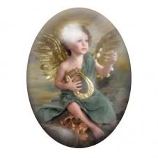 Cabochon en Verre Illustré Ange Lyre 13x18, 18x25 ou 30x40mm pour la Création de Bijoux Fantaisie - DIY