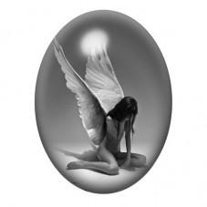 Cabochon en Verre Illustré Ange Triste 13x18, 18x25 ou 30x40mm pour la Création de Bijoux Fantaisie - DIY