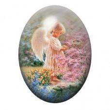 Cabochon en Verre Illustré Ange Fleurs Peinture 13x18, 18x25 ou 30x40mm pour la Création de Bijoux Fantaisie - DIY
