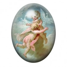 Cabochon en Verre Illustré Ange Peinture 13x18, 18x25 ou 30x40mm pour la Création de Bijoux Fantaisie - DIY