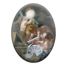 Cabochon en Verre Illustré Anges Peinture 13x18, 18x25 ou 30x40mm pour la Création de Bijoux Fantaisie - DIY