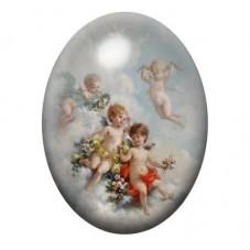 Cabochon en Verre Illustré Anges sur un  Nuage Peinture 13x18, 18x25 ou 30x40mm pour la Création de Bijoux Fantaisie - DIY
