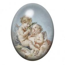 Cabochon en Verre Illustré Deux Anges Peinture 13x18, 18x25 ou 30x40mm pour la Création de Bijoux Fantaisie - DIY