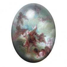 Cabochon en Verre Illustré Anges Ciel Peinture 13x18, 18x25 ou 30x40mm pour la Création de Bijoux Fantaisie - DIY