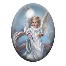 Cabochon en Verre Illustré Ange Robe Blanche Peinture 13x18, 18x25 ou 30x40mm pour la Création de Bijoux Fantaisie - DIY