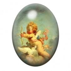 Cabochon en Verre Illustré Ange Arc Peinture 13x18, 18x25 ou 30x40mm pour la Création de Bijoux Fantaisie - DIY