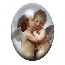 Cabochon en Verre Illustré Anges Premier Baiser Peinture 13x18, 18x25 ou 30x40mm pour la Création de Bijoux Fantaisie - DIY