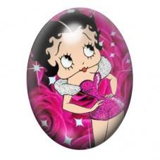 Cabochon en Verre Illustré Betty Boop 13x18, 18x25 ou 30x40mm pour la Création de Bijoux Fantaisie - DIY