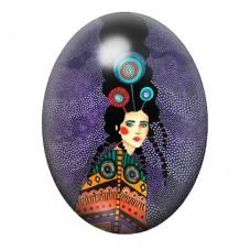 Cabochon en Verre Illustré Femme au Cheveux Flottants Coloré 13x18, 18x25 ou 30x40mm pour la Création de Bijoux Fantaisie - DIY