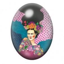 Cabochon en Verre Illustré Frida Khalo au Cheveux Flottants Coloré 13x18, 18x25 ou 30x40mm pour la Création de Bijoux Fantaisie