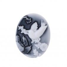 2 Camées Cabochon Oiseaux Noir et Blanc 26x20mm pour la Création de Bijoux Fantaisie - DIY