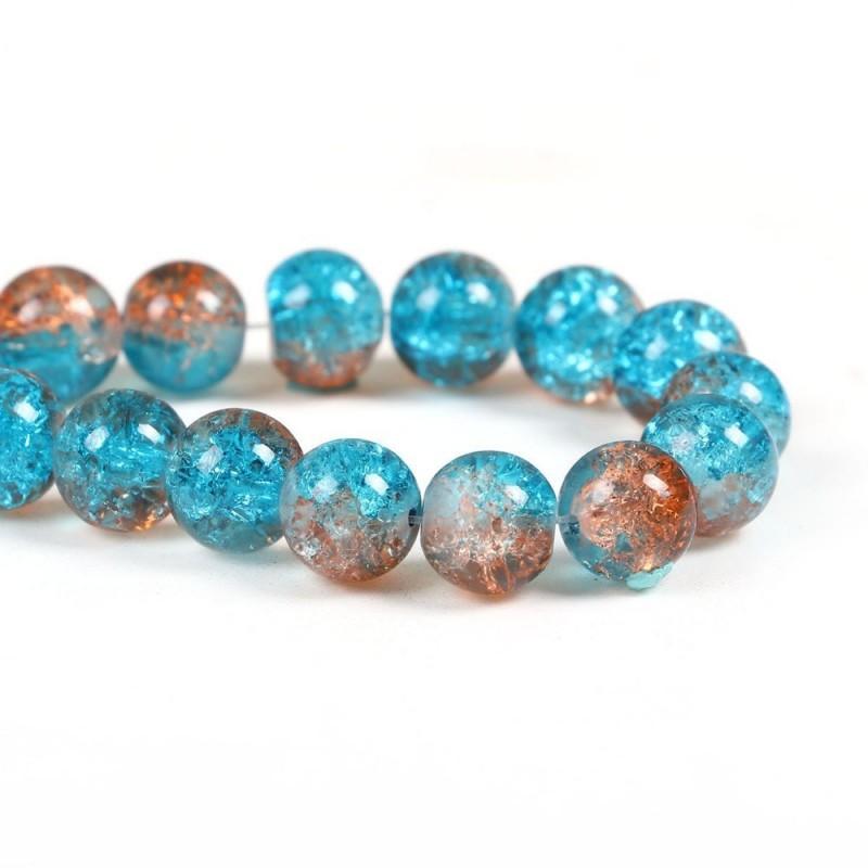 10 Perles en Verre Craquelé 10mm