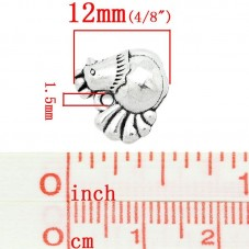 5 Breloques Poule Thème de la Ferme Argenté 13x12mm