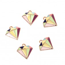 2 Breloques Diamant en Émail Multicolore Métal Doré 16mm pour la Création de Bijoux Fantaisie - DIY