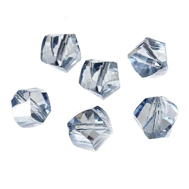 10 Perles en Verre à Facettes Bleu Gris 10x9mm